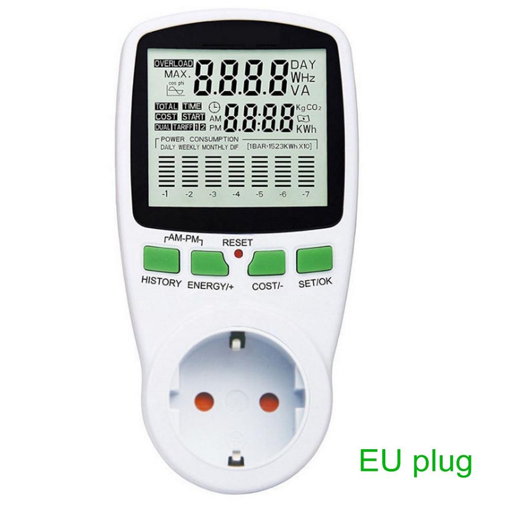 Цифровой счетчик электроэнергии, ваттметр с ЖК дисплеем, с вилкой Стандарта EU/French/US/UK/AU