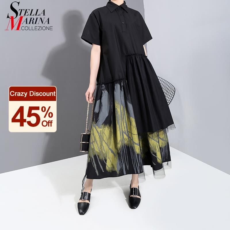 Novo 2021 estilo pintado feminino verão designer do vintage preto longo camisa vestido retro impressão malha sobreposição senhora vestido casual robe 6138