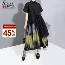 Nuevo 2021 pintado estilo de las mujeres diseñador de verano Vintage negro vestido de Camisa larga Retro de la superposición de malla dama Casual traje vestido 6138