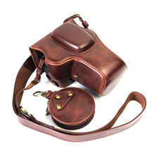 Capa de couro pu para câmera nikon, d3200 d3100 d3400 d3300 18 55mm proteção para lente dslr abertura da bateria inferior