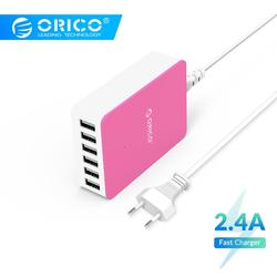 Orico csa 6 portas usb carregador rápido adaptador de energia desktop carregador 5 v 2.4a 50 w carregamento usb para samgsung xiaomi huawei iphone