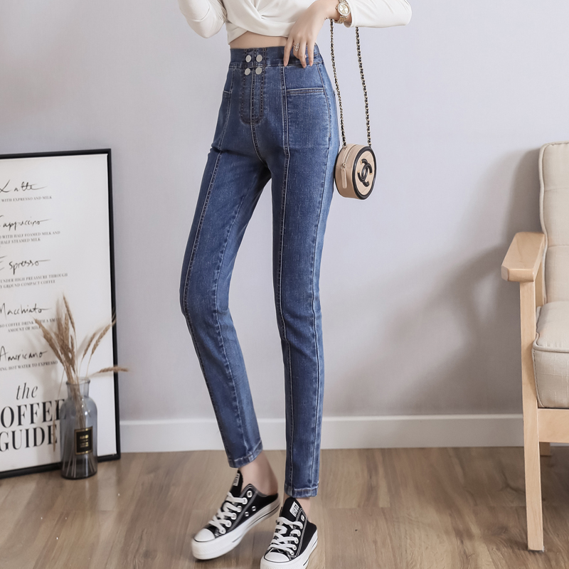 Jeans For Women High Waist Slim  Plus Size Elastic  Pocket Splice  Female  Full Length Skinny  Denim   Pencil Pants 5XL 6XL
