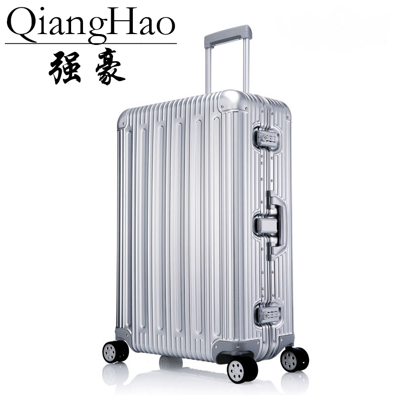 Fashion and Exquisite Suitcase Luxury Rolling Trunk with Crocodile Pattern for Youth Brown 20