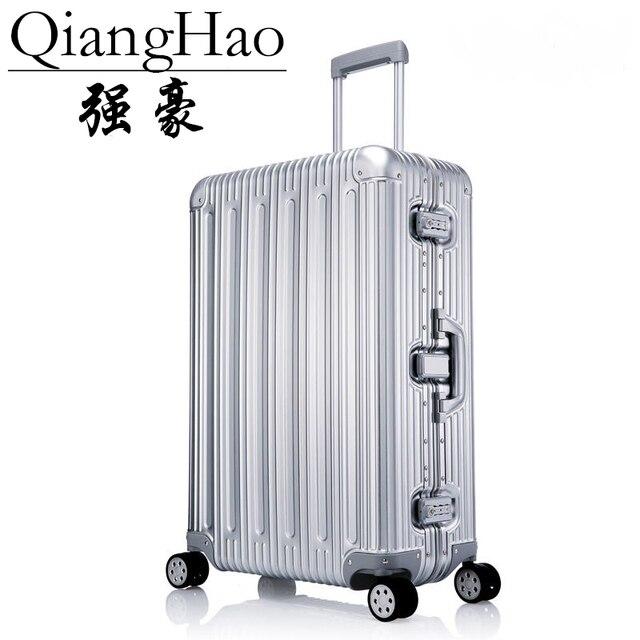 مصمم 100% سبائك الألومنيوم المغنيسيوم عربة حقائب الرجال موضة المعادن المتداول الأمتعة النساء السفر الفضة الساخن