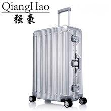 Designer 100% alumínio liga de magnésio trole malas homens moda metal rolando bagagem feminina caso viagem prata quente