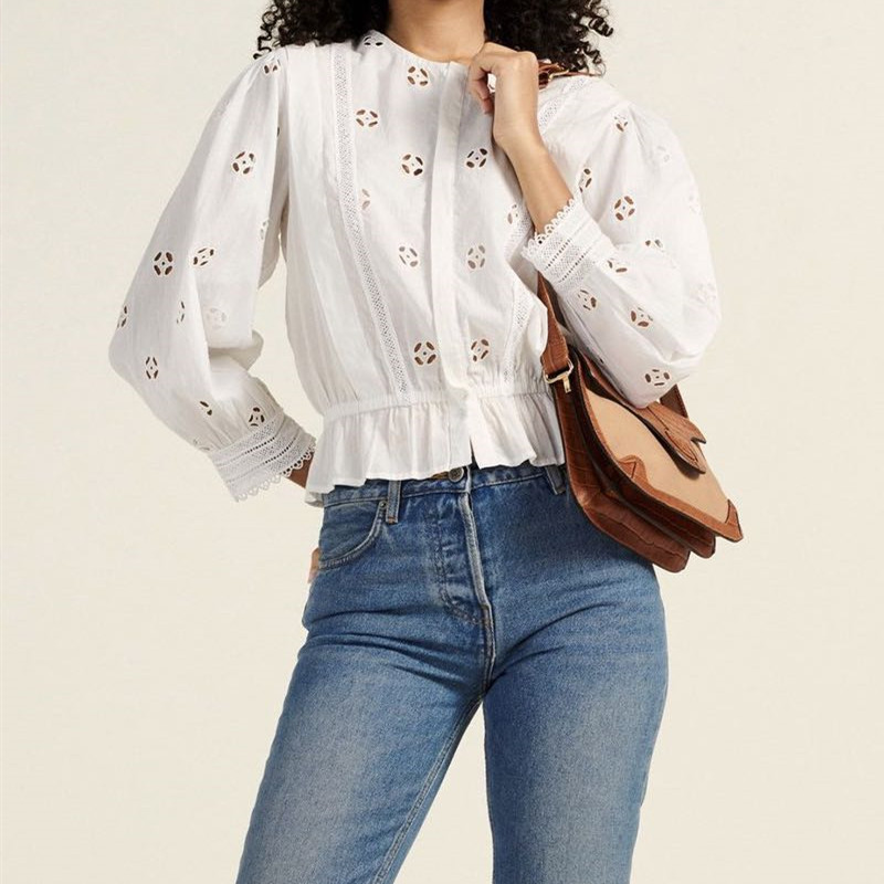 2020 New Hollow Out Women Cotton Blouse Waist Slim Ladies single-breasted Shirt Casual French style Shirts and top
