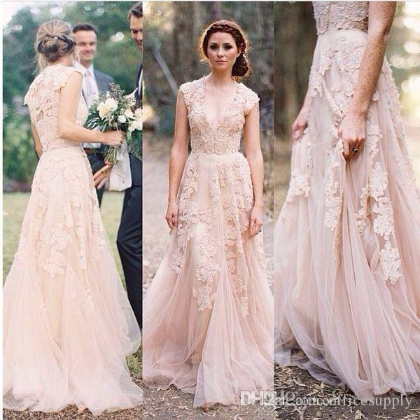 2020 Blush Lace Wedding Dresses V Neck Cap Sleeves Reem Acra Puffy Bridal Gowns Vintage Country A-line Floor  Wedding Gowns