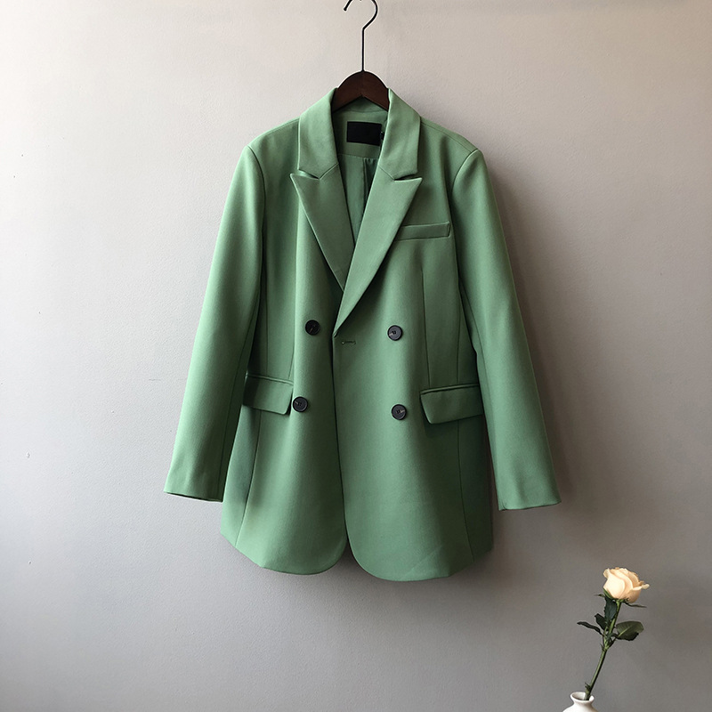 Loose Casual Blazer Coat Solid Color Suit Tops For Women Spring New Style Fashion Jackets Green Blazers Suit Office Wear Coats