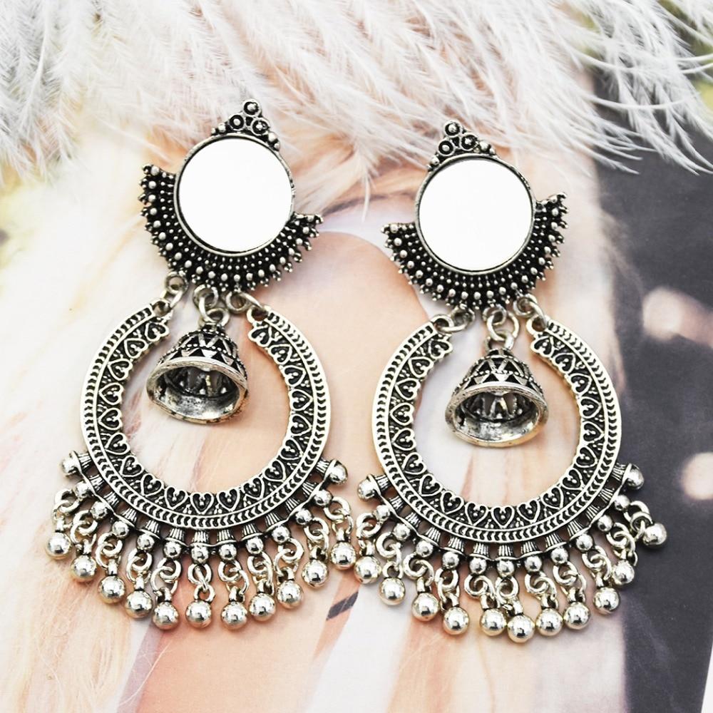 Red Jewels Tassels Earrings Afghan Middle Eastern Earrings Kashmir Jhumka Old Silver Pakistan