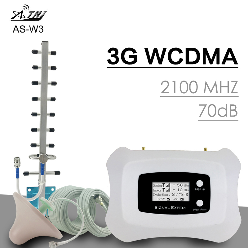 ATNJ 3G Voice & Network WCDMA 2100Mhz Band 1 UMTS 3G Mobile Repeater Full Intelligent Cell Phone Signal Booster Set LCD Display