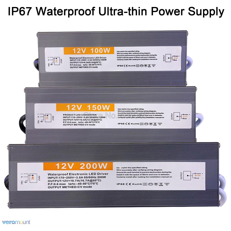 12V 24V 60W 80W 100W 120W 150W 200W IP67 Waterproof LED Power Converter AC 110V-220V To DC 12V 24V Power Supply Transformer