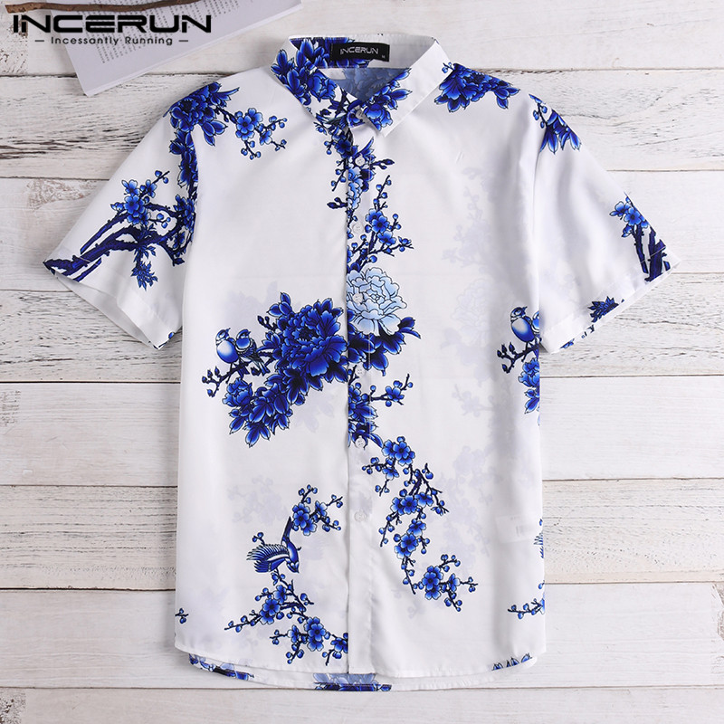 INCERUN Floral Printed Men Shirt Lapel Neck Vintage Short Sleeve Tops Chemise 2020 Chinese Style Casual Brand Mens Shirts S-5XL