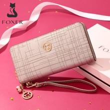 FOXER marka kadın inek deri cüzdan basit bozuk para çantaları moda fermuar uzun cüzdan kadın el çantası