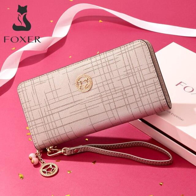 Foxerブランド女性牛革財布シンプルなコイン財布ファッションジッパーロング財布女性クラッチバッグ