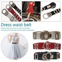Deluxe Elastic Waist Belt Luxury Elastic Women Wide Belt Golden Alloy Buckle Waist Belt belts vintage solid color alloy pothook buckle elastic broad belt for women