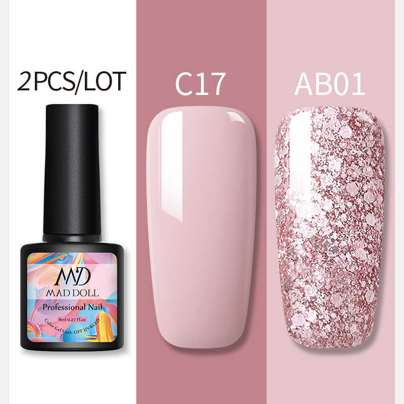 2 Buah/Set Glitter Uv Gel Set Cat Kuku Rose Emas Telanjang Seri LED Nail Gel Lacquer Varnish SOAK Off Nail payet Gel 1 Pc
