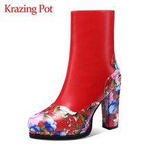 Krazing pot/зимняя обувь из натуральной кожи на очень высоком