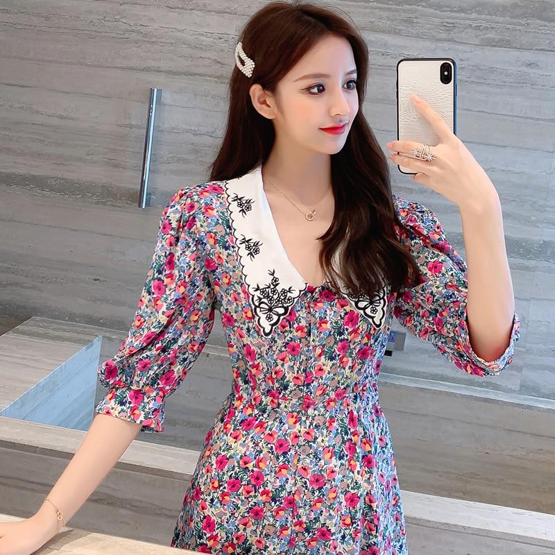 Retro Breath Embroidered Dress Women Short Sleeve Doll Collar Floral Dress Female Slim Temperament Plus Size Sexy Summer Vestido