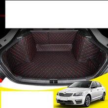 Lsrtw2017 Leather Car Trunk Mat Cargo Liner for Skoda Octavia 2013 2014 2015 2016 2017 2018 2019 Rug Carpet Accessories