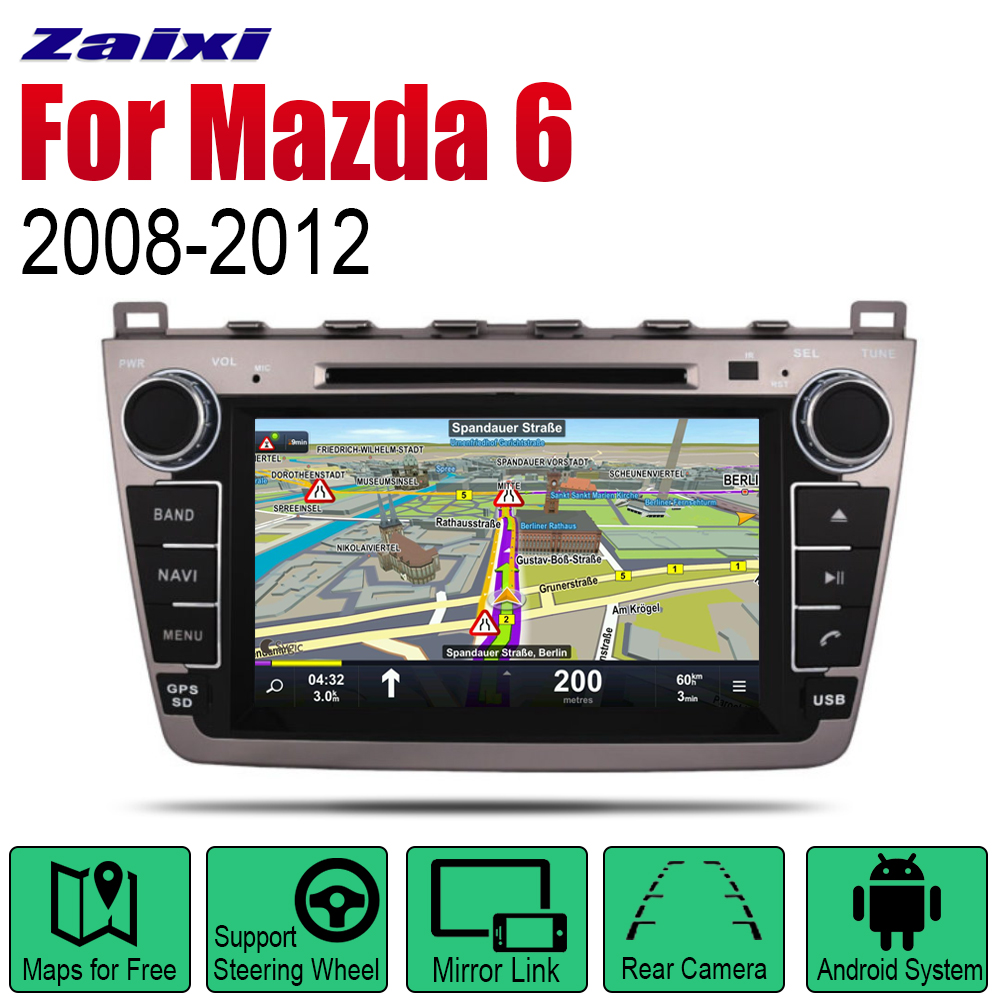 ZaiXi Auto Radio 2 Din Android Car DVD Player For <font><b>Mazda</b></font> <font><b>6</b></font> 2008~2012 <font><b>GPS</b></font> Navigation BT Wifi Map Multimedia <font><b>system</b></font> Stereo image