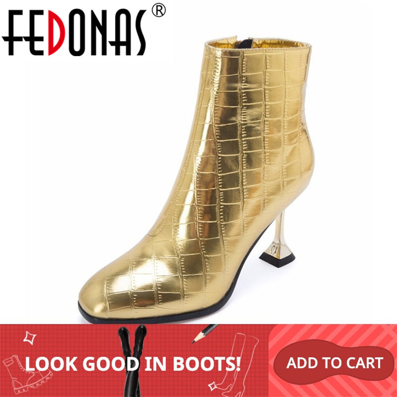 FEDONAS Fashion Women High Heels Ankle Boots Gold Silver Autumn Winter Party Wedding Prom Shoes Woman Sexy Pumps Female Boots-in Ankle Boots from Shoes