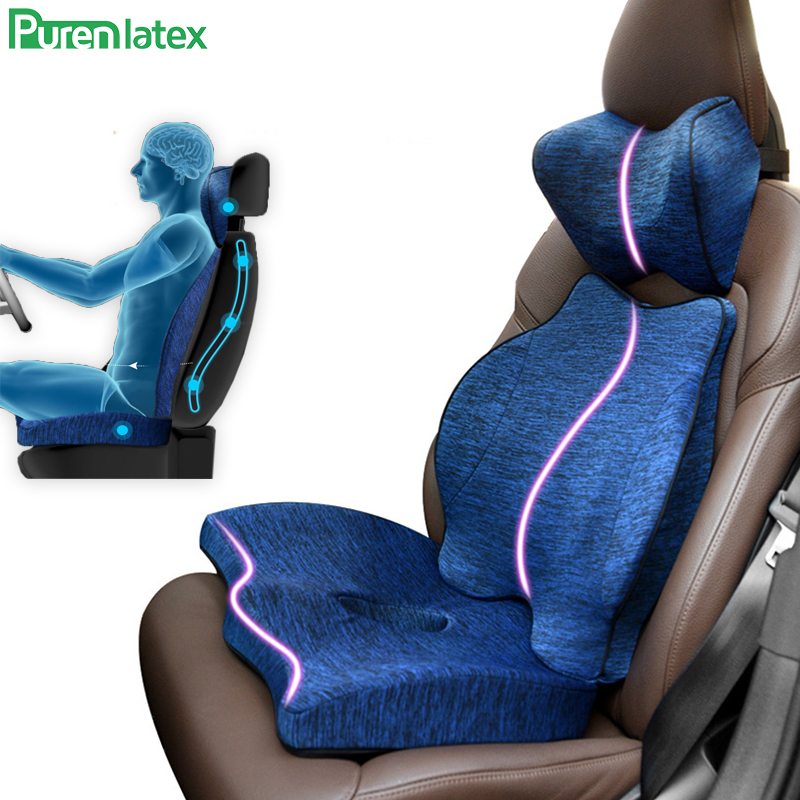 Purenlatex Auto Seat Cushion Memory Foam Orthopedic Pillow For Office Car Pad And Coccyx Cushion For Sciatica & Back Pain Relief