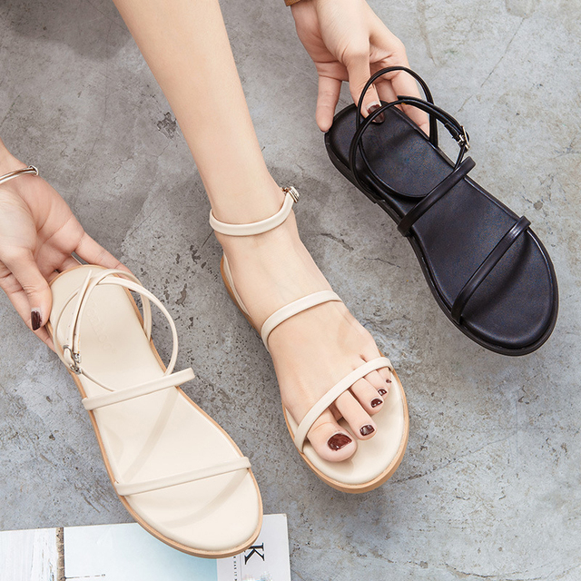 2020 été décontracté femme sandales boucle gladiateur grosse sangle Sandalias bout ouvert bride à la cheville Slingback chaussures