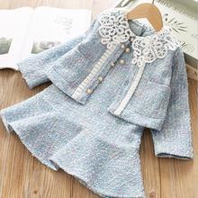 Коллекция года, Модные осенние комплекты для маленьких девочек пальто+ платье с длинными рукавами 5 комплектов/партия