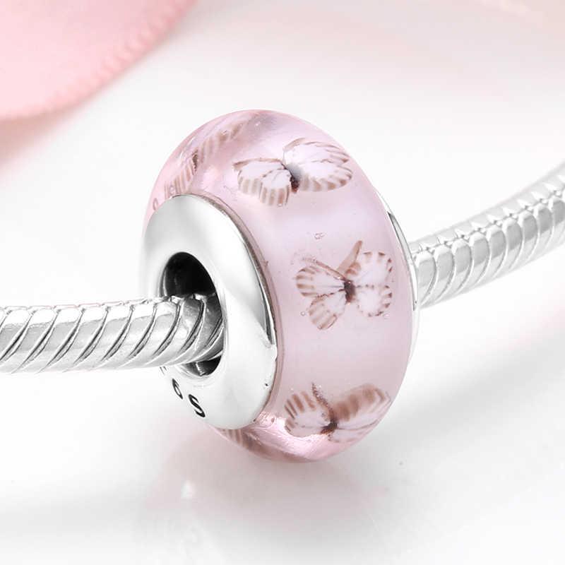 تألق زجاج مورانو الخرز الوردي فراشة 925 الفضة charms صالح الأصلي باندورا سوار غرامة مجوهرات صنع النساء الهدايا