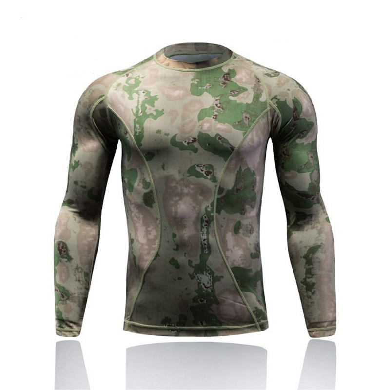 Outdoor Sport Tactical Camouflage Hiking T-shirt Quick Dry Military Army Compression Shirt  Men Long Sleeve Hunting Combat Shirt