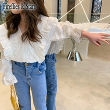 Baby Shirt Girls Blouse Embroidery Children Clothes Spring Kids Tops Floral Ruffle New-Fashion