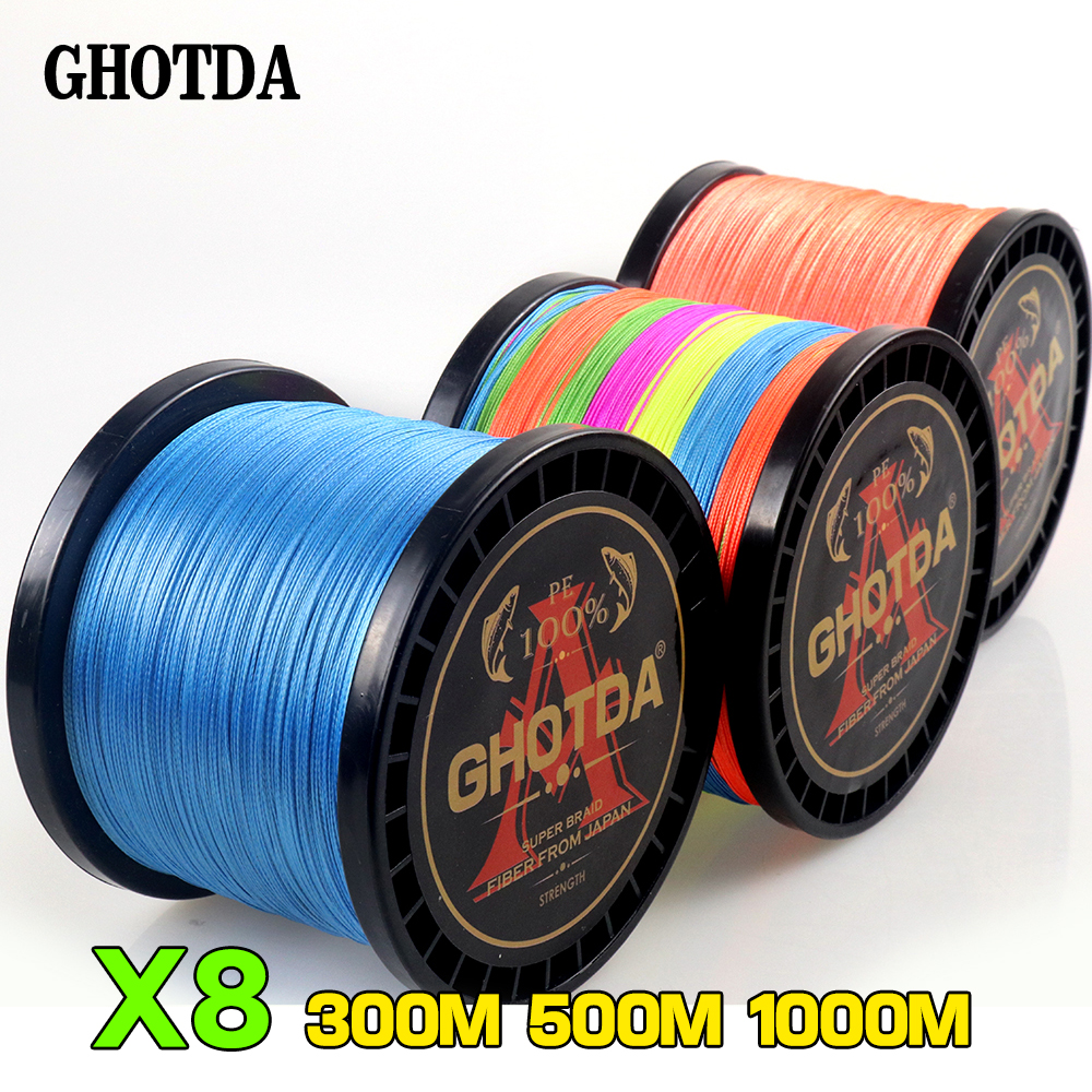 GHOTDA Braided Fishing Line Sea Saltwater Fishing 8 Strands 100M 300M 500M 1000M 100% PE Super Strong Cord