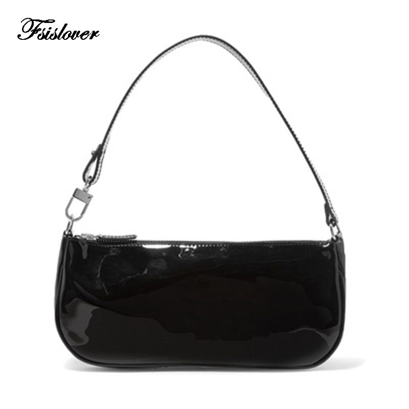 Vintage Baguette Crocodile Pattern Women Shoulder Bags Retro Split PU Leather Bags Solid Ladies Small Messenger Handbag Female
