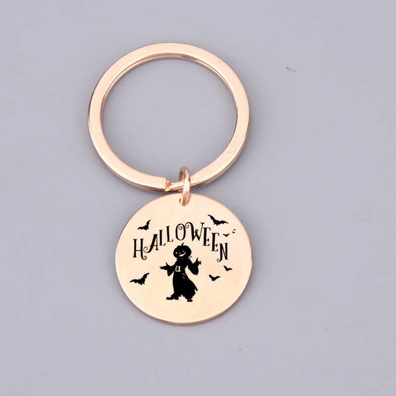 Llavero grabado bate de miedo Hocus Pocus feliz Halloween Jack-o '-linterna regalo para llavero de amigo moda Simple encanto del bolso de regalo