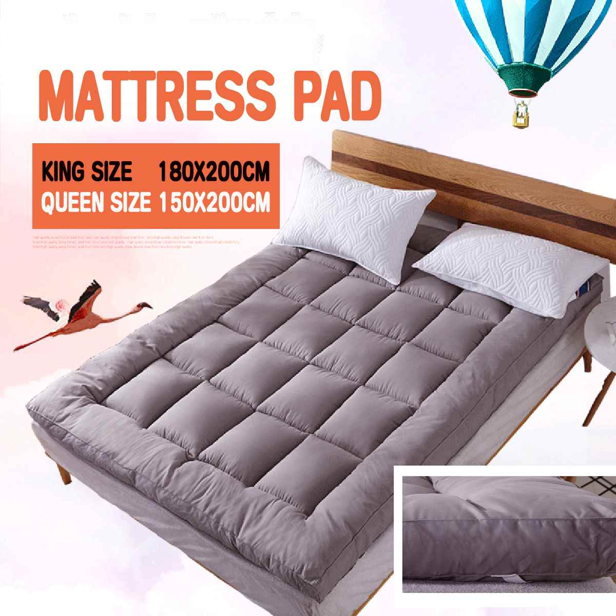 Queen/King Size Quilted Mattress Protector Pad Topper Cover 16