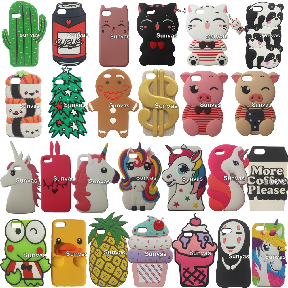 3D Kid's Cute Cartoon Animal Dropproof Soft Silicone Case Phone Back Cover Skin For iPhone 5 5S 5C SE 6s 7 8 Plus X XS XR XS Max