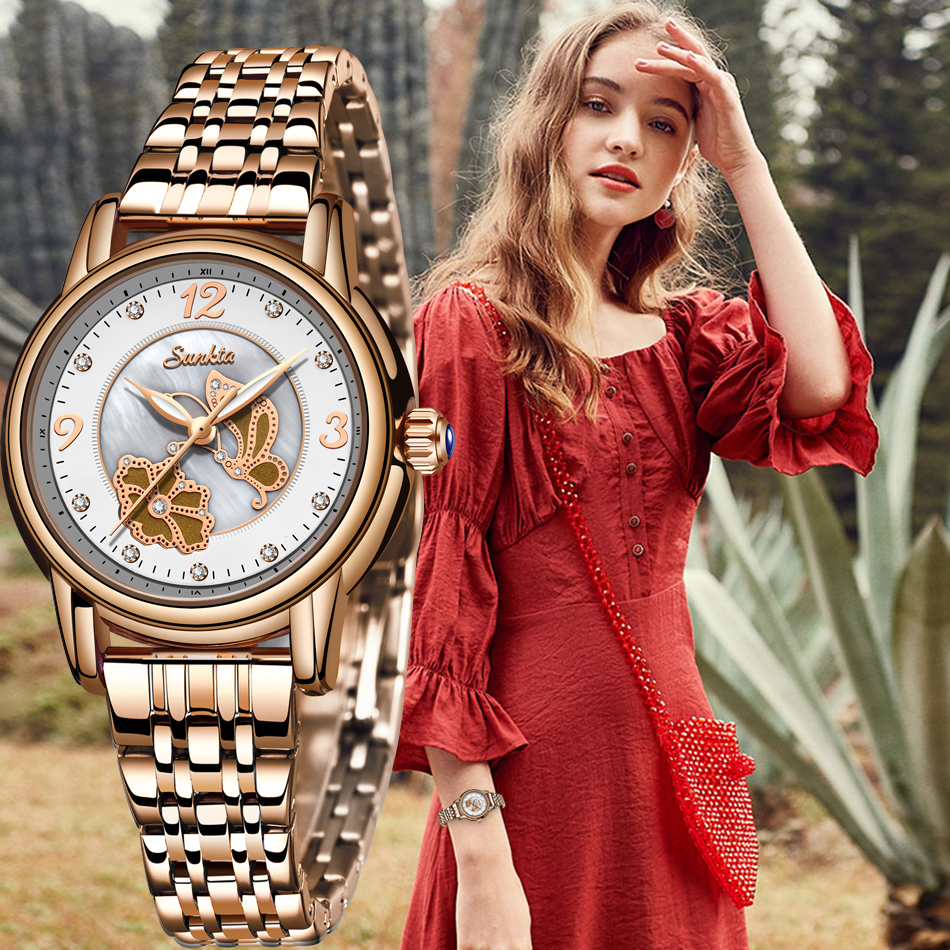 Sunkta New Ladies Watch Luxury Watch Ladies Fashion 2020 Waterproof Gold Women Watch Quartz Watch Girl Clock Relogio Feminin