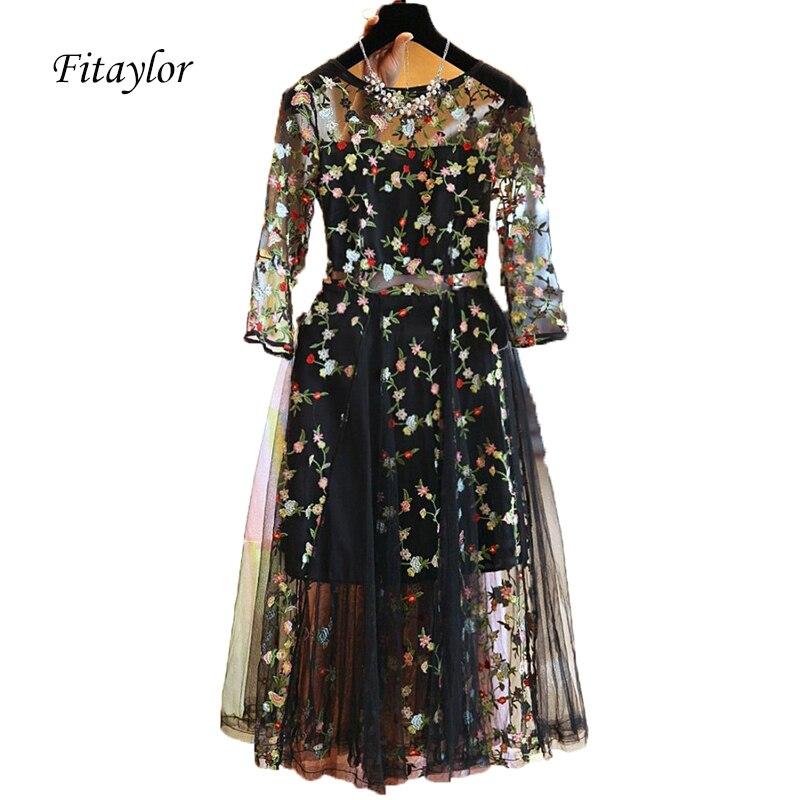 Fitaylor Summer Women Dress Elegant Lace Floral Embroidery Black Vintage Dresses Evening Party Vestidos Plus Size 4XL