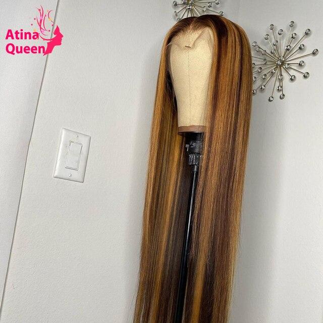 Pelucas de cabello humano Ombre rubio miel con encaje completo peluca Frontal de encaje 360 marrón claro 13X6 cierre Frontal Remy indio para mujeres negras