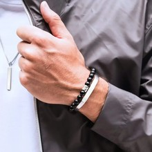 Runda-pulsera de acero inoxidable para hombre y mujer, joyería para parejas, amantes