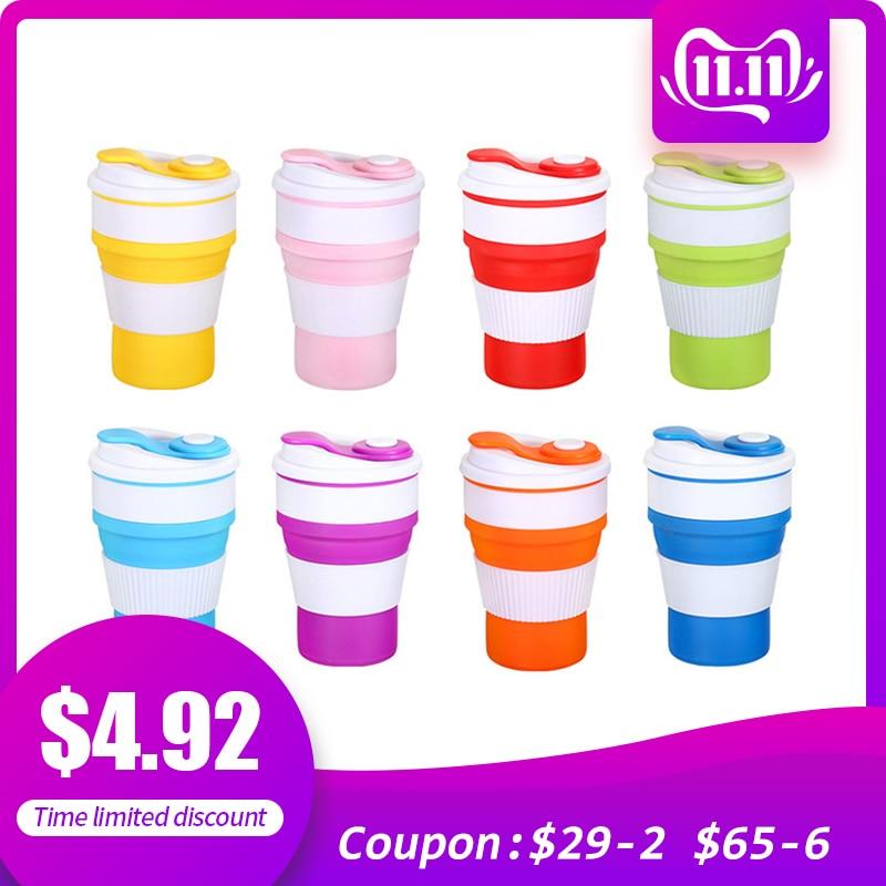 400ml Silikon Kaffee Becher Klapp Freizeit Becher Kaffee Tasse Outdoor Sport Wasser Tasse Trinkbecher mit Deckel Reise Wasser tasse