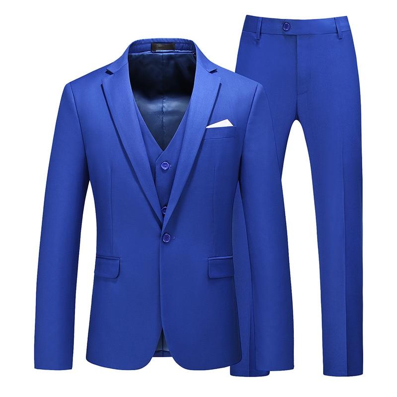 High-end Customized Royal Blue Men's Suit Suit Wedding Blazer Men's Suit Business Formal Party Black Large Size M-6XL Tuxedo Men
