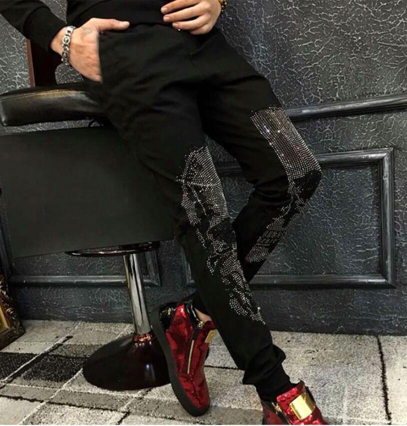 Autumn And Winter New Fashion Brand Men's Casual Hot Drilling Pants Slim Leggings Men's Scalded Skull Head Cotton Elastic Pants