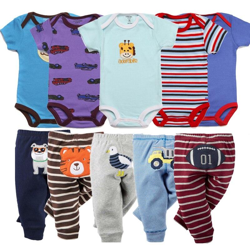 5sets Newborn Clothes Baby Sets Infant Jumpsuit Long Rompers Long Pants Roupas Infantis Menina Toddler Girls Clothes Pajamas set