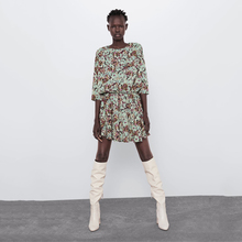 2019 New ZA Flower Print Dress Women Fashion Round Collar El
