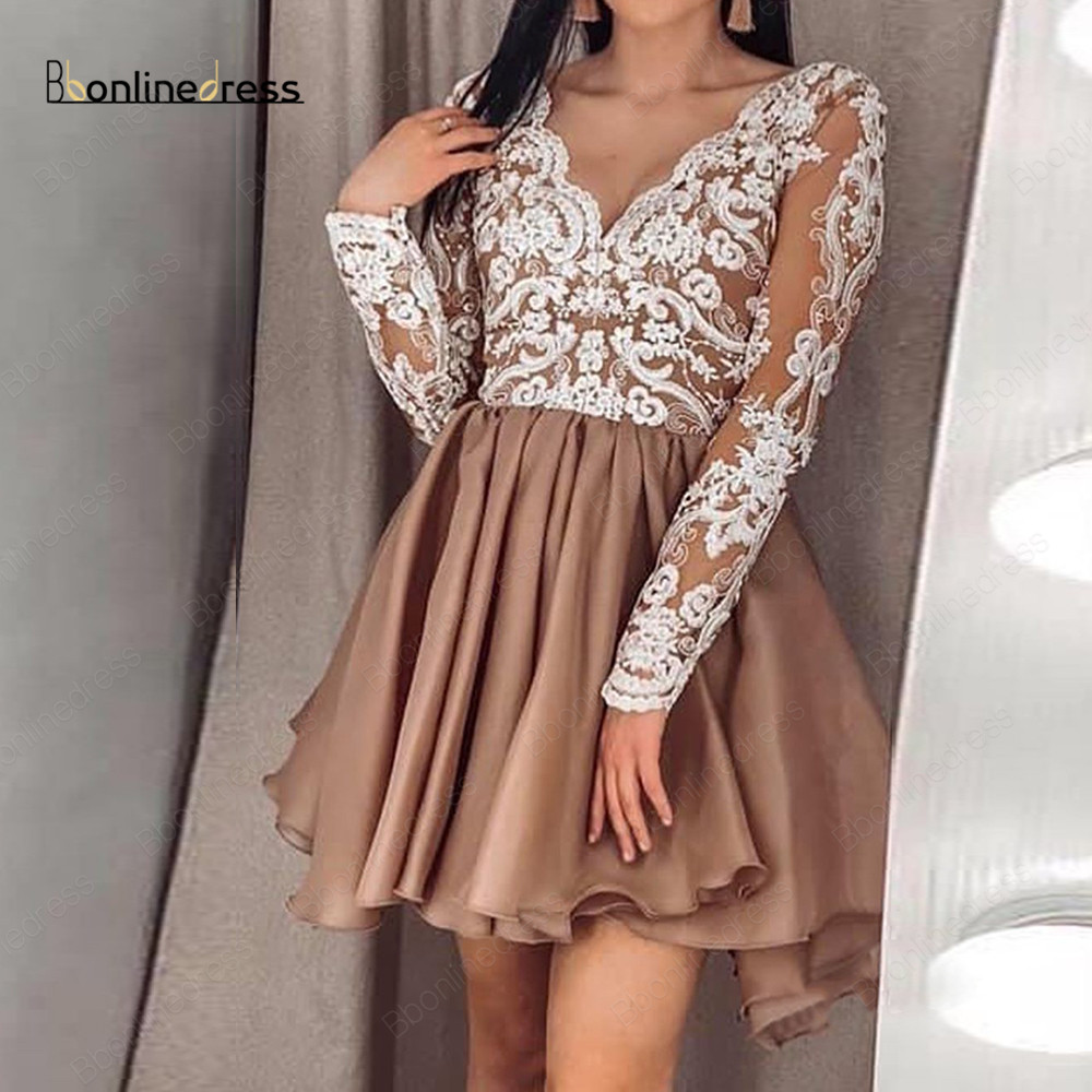 Bbonlinedress Homecoming Dress Long Sleeves V-Neck Lace Appliques Above Knee Mini Party Gowns Graduation Dress vestidos de curto