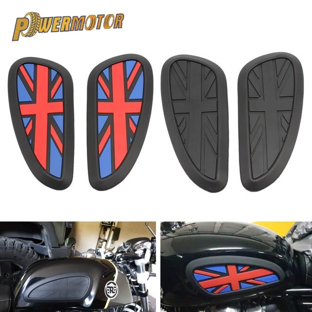 Motorrad Cafe Racer Gas Kraftstoff Tank Gummi Aufkleber Protector Mantel Knie Tank Pad Grip Aufkleber Die Union Jack Logo Universal retro