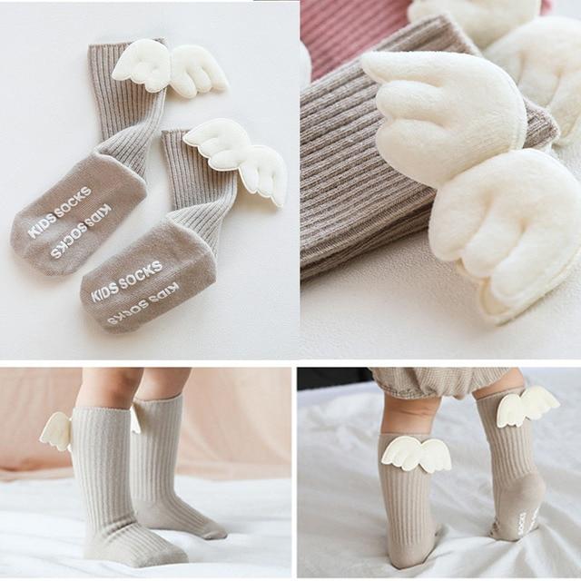 Baby Girls Knee High Socks  Angel wing  Summer Autumn Cotton Socks Solid Candy Color Kids Toddler  Short Socks For Children 6