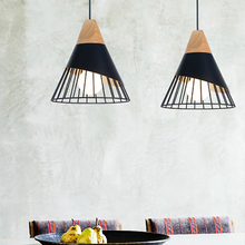 Pendant-Lights Conical Wooden Metal Nordic-Design 7colors Dinning E27 Led