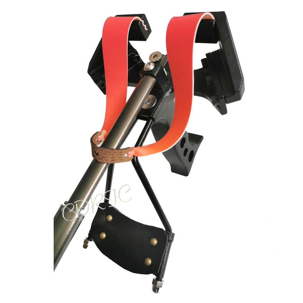Poderosa retrátil estilingue banda de borracha plana forte puxando força catapulta vista de carga e luz para caça ao ar livre estilingue
